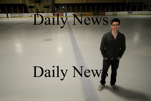 Newburyport: Film maker Andrew White on the ice at the Graf Rink in Newburyport. Jim Vaiknoras/Staff photo