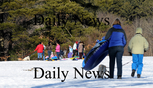 Newburyport: A large crowd of sledders gather at Maudsley State Park in Newburyport Monday afternoon, taking advantage of the nice weather. Photo by Ben Laing/Newburyport Daily News Monday February 16, 2009.