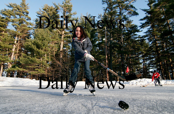 Amesbury: Riley Newell of Amesbury plays some hockey with her family at the Amesbury town rink Monday afternoon. Photo by Ben Laing/Newburyport Daily News Monday February 16, 2009.
