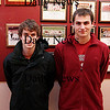 Newburyport: Captains of the CAL champion boys indoor track team, Newburyport's Tom Svirsky (left) and Thayer Adsit (right). Photo by Ben Laing/Newburyport Daily News Monday February 9, 2009.