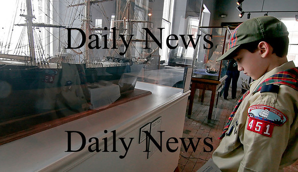 Newburyport: Christian Hovan, 9, of Newburyport, studies the Dreadnaught, one of the most noteworthy clipper ships ever built in Newburyport. Hovan and his Webelos troop were visiting the Custom House museum Friday as part of the cities Willie Lincoln Day celebration. Photo by Ben Laing/Newburyport Daily News Friday February 20, 2009.