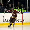 Salem: Newburyport's Ryan Cutter (11) celebrates after scoring a goal in the second period of Friday nights 4-1 tournament win over top ranked Winthrop at Salem State. Photo by Ben Laing/Newburyport Daily News Friday February 27, 2009.