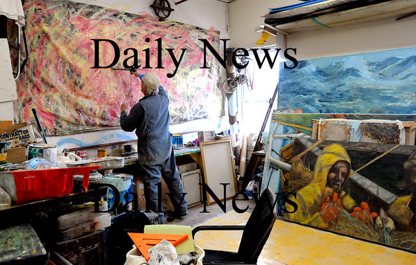 Amesbury:<br /> Artist Eric Karl Andersen was one of the first to rent space at 14 Cedar Street in Amesbury.<br /> Photo by Bryan Eaton/Newburyport Daily News Monday, February 23, 2009