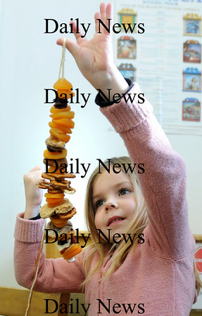 "Amesbury:<br /> Sydney Aldrich, 6, checks out the ""bird rope"" she made in the Children's Room at the Amesbury Public Library which is made of dried fruit, bread and apples which she'll hang outside. That was one of the crafts offered this week during school vacation.<br /> Photo by Bryan Eaton/Newburyport Daily News Tuesday, February 17, 2009"