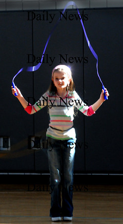 Salisbury:<br /> Caitlyn Chaisson, 7, jumps rope in Linda Gangemi's gym class at Salisbury Elementary School on Wednesday afternoon. The second-graders held a jump-a-thon for the American Heart Association last week and were practicing to further their skills.<br /> Photo by Bryan Eaton/Newburyport Daily News Wednesday, February 25, 2009