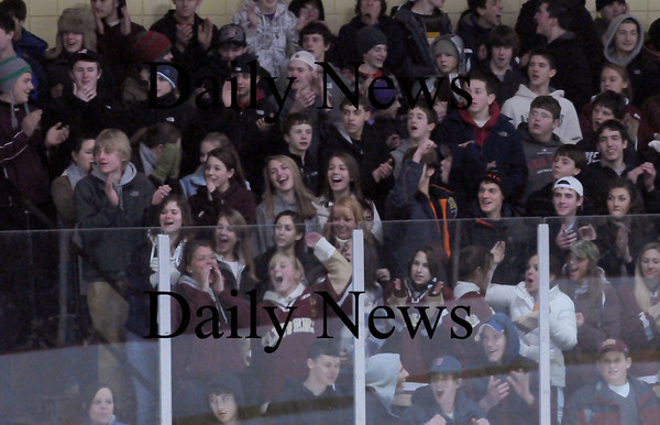 Newburyport: Newburyport High hockey fans as their team scores their first goal against Wilmington. Photo by Bryan Eaton/Newburyport Daily News  Wednesday February 4, 2008.