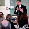 Newburyport:<br /> Newburyport Mayor John Moak speaks to the Greater Newburyport Chamber of Commerce at their monthly breakfast at the Phoenix Room about the state of the city.<br /> Photo by Bryan Eaton/Newburyport Daily News Thursday, February 05, 2009