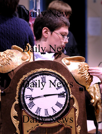 Rowley:<br /> Jarod Fuller who plays Cogsworth in Beauty and the Beast adjusts his epaulet on his costume during rehearsal of the play at Pine Grove School.<br /> Photo by Bryan Eaton/Newburyport Daily News Tuesday, February 03, 2009