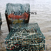 Seabrook:<br /> A couple damaged lobster traps sit at the bottom of the boat ramp at Seabrook Beach on Thursday afternoon. A couple seagulls inspected the traps, but found nothing to eat inside.<br /> Photo by Bryan Eaton/Newburyport Daily News Thursday, February 19, 2009