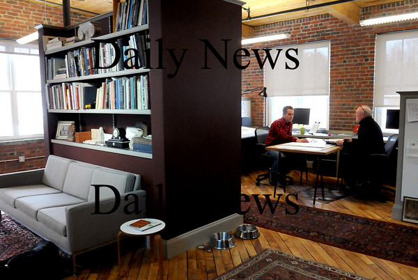 Amesbury:<br /> The space at 14 Cedar Street in Amesbury, a former industrial building, is slowly taking on new life as artist studios as well as architect and other office space. In Merrimack Design Associates are Gregory Colling, left, and Eric Inman Daum.<br /> Photo by Bryan Eaton/Newburyport Daily News Monday, February 23, 2009