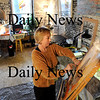 Amesbury:<br /> Former Newburyport artist works on a multimedia collage in her Oakland Street, Amesbury studio.<br /> Photo by Bryan Eaton/Newburyport Daily News Thursday, February 19, 2009