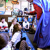 Newburyport:<br /> Zero the Hero stops in Sherry Herzig's class at the Brown School as he makes his rounds to the first grade and kindergarten classes for the 100th day of school. Zero comes in during the week and meets with the different classes to help them with their math skills.<br /> Photo by Bryan Eaton/Newburyport Daily News Wednesday, February 11, 2009