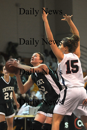 Boston: Pentucket's Kirsten Daamen looks for room under the basket during the Sachems 51-48 loss Sunday to Central Catholic in the 19th annual Comcast Tournament at Boston Collage High.photo by Jim Vaiknoras/Newburyport Daily News. February 15, 2009.