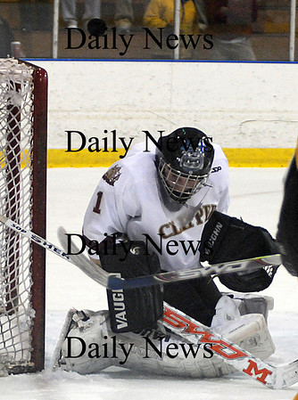 Salem: Newburyport' goalie Chritopher Eiserman makes a stop against  Bishop Fenwick during the Cippers 4-3 victory Tuesday night at Salem State College. photo by Jim Vaiknoras