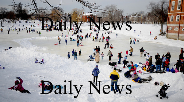 Newburyport: Crowds fill the Frog Pond  at the Newburyport Winter Carnival at the Mall Saturday. photo by Jim Vaiknoras/Newburyport Daily News. February 7, 2009
