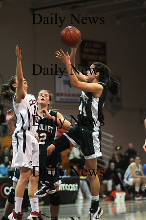 Boston: Pentucket's Andrea Attenasio drives to the hoop during the Sachems 51-48 loss Sunday to Central Catholic in the 19th annual Comcast Tournament at Boston Collage High.photo by Jim Vaiknoras/Newburyport Daily News. February 15, 2009.