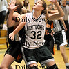 West Newbury: Kirsten Daamen (32) of Pentucket boxes out an Ipswich opponent during Tuesday nights game in West Newbury. Photo by Ben Laing/Newburyport Daily News Tuesday January 20, 2009.