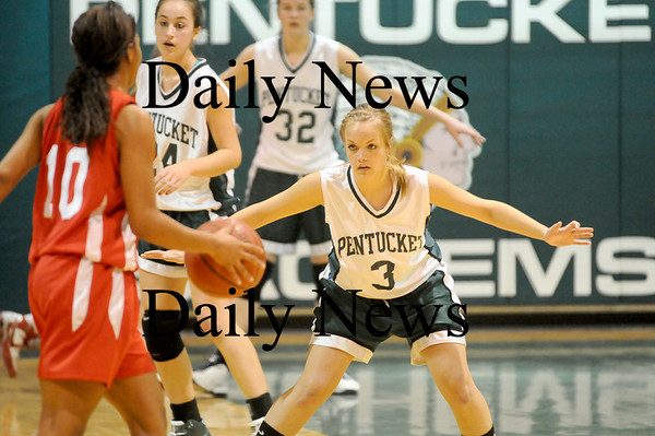 West Newbury: Emily Lane (3) of Pentucket defends Masco's Jammie White (10) as she brings the ball up the court during Friday nights game in West Newbury. Photo by Ben Laing/Newburyport Daily News  Friday January 16, 2009.