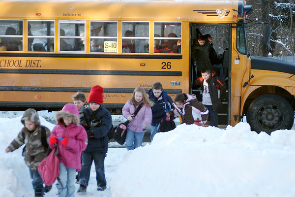 Salisbury: Kids from the local elementary schools swarm the Boys and Girls Club in Salisbury as their bus drops them off outside Monday afternoon. Photo by Ben Laing/Newburyport Daily News Monday January 12, 2009.