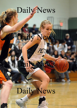 West Newbury: Pentucket's Emily Lane (3) drives towards the basket while an Ipswich defender tries to keep up during Tuesday nights game in West Newbury. Photo by Ben Laing/Newburyport Daily News Tuesday January 20, 2009.