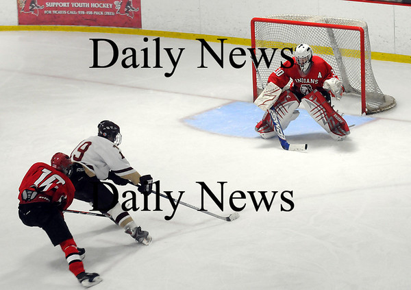 Newburyport: Newburyport's Kevin Holmes (19) breaks in alone on Amesbury goalie Matt Irwin, who was able to make the save. The Clippers prevailed however, 3-1. Photo by Ben Laing/Newburyport Daily News Wednesday January 14, 2009.