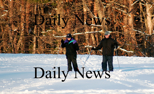 Newburyport: This weekend's snowfall was welcomed by some, such as this couple who took advantage of the powder to do some cross country skiing at Maudsley State Park in Newburyport on Monday. Photo by Ben Laing/Newburyport Daily News Monday January 12, 2009.