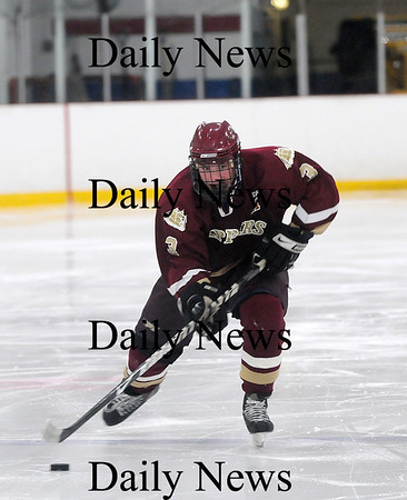 Newburyport: Newburyport's Kyle McElroy (3) breaks away from the Wilmington defense during Wednesday's 4-2 Clipper victory. Photo by Ben Laing/Newburyport Daily News Tuesday January 21, 2009.