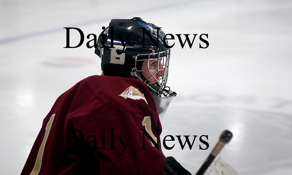 Wilmington: Newburyport goalie Chris Eiserman (1) wears his older brother, Billy's, number on his helmet (6). Billy was injured earlier in the week and hasn't made it back on the ice, but his teamates have dedicated their play to him. Photo by Ben Laing/Newburyport Daily News Tuesday January 21, 2009.