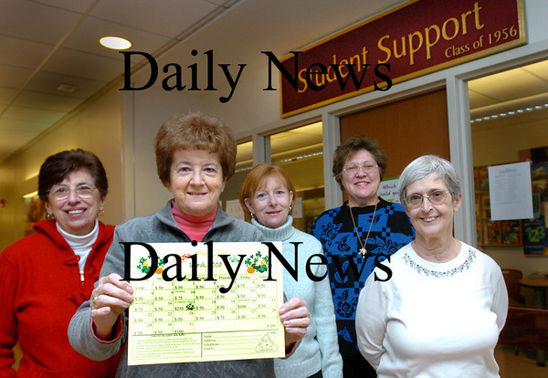 Newburyport:<br /> Retired Newburyport teachers who work on Lydia's Foundation that puts out a calendar to help disadvantaged children in the city, from left, Margaret Nichols, Susan Down, Ellen Erekson, JoAnne Brislin and Linda Kuse.<br /> Photo by Bryan Eaton/Newburyport Daily News Thursday, January 22, 2009