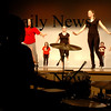"Amesbury:<br /> Tyson Luneau keeps the beat as students at Amesbury High School  rehearse a showcase for this Friday to raise money for the Drama Club Fund and the Spring musical ""Little Shop of Horrors.""<br /> Photo by Bryan Eaton/Newburyport Daily News Wednesday, January 21, 2009"