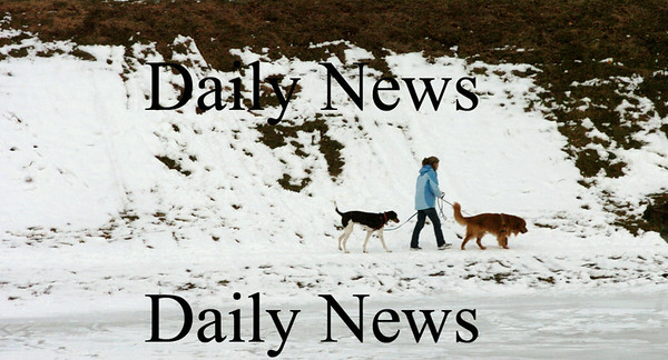 Newburyport:<br /> A woman walks her dogs at the Bartlet Mall on Monday afternoon during the relatively mild day. The weather turns for the worst on Wednesday as snow comes in possibly mixing with rain.<br /> Photo by Bryan Eaton/Newburyport Daily News Monday, January 05, 2009
