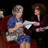 "Newburyport:<br /> Kari Nickou as Celeste, right, and Mary Shapiro as Marie in the ten minute play ""The Tenant.""<br /> Photo by Bryan Eaton/Newburyport Daily News Wednesday, January 28, 2009"