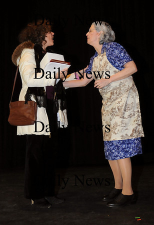 "Newburyport:<br /> Kari Nickou as Celeste, left, and Mary Shapiro as Marie in the ten minute play ""The Tenant.""<br /> Photo by Bryan Eaton/Newburyport Daily News Wednesday, January 28, 2009"