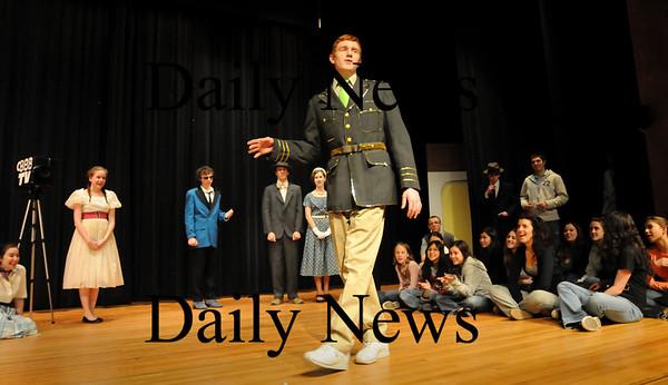 Georgetown:<br /> Jim Savelyev as Conrad Birdie performs in the One Last Kiss scene of Bye Bye Birdie at Georgetown High School.<br /> Photo by Bryan Eaton/Newburyport Daily News Thursday, January 22, 2009