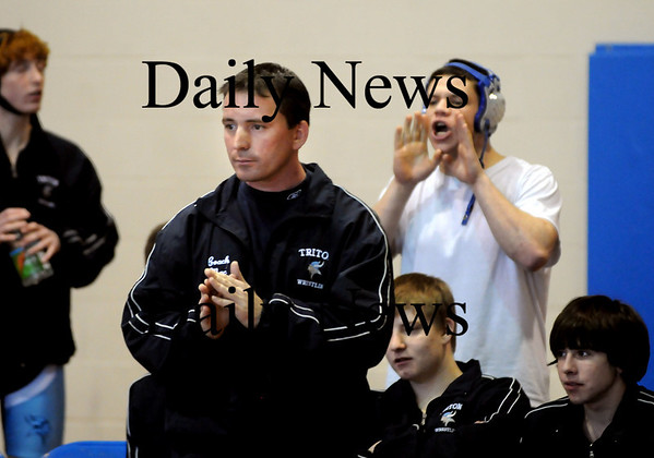 Newbury:<br /> Triton wrestling coach Shawn McElligott at a recent match with Whittier Vocational. Photo by Bryan Eaton/Newburyport Daily News Wednesday, January 07, 2009