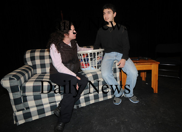 "Newburyport: Eric Sirakian as Simon and Theresa Donahue as Theresa in ""Faith"" by James McLindon at the Firehouse.<br /> photo by Jim Vaiknoras/Newburyport Daily News January 20, 2009"