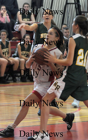 Amesbury: Amesbury's Kerri Salatori drives to the basket aqainst North Andover during their game at Amesbury Monday. photo by Jim Vaiknoras/ Newburyport Daily News January 19, 2009