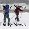 Newbury: Paul Prisby of Byfield and Ken Petrucci of Newburyport cross-country ski along the beach on Plum Island Sundau afternoon. photo by Jim Vaiknoras/ Newburyport Daily News. January 18, 2009