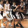 Newburyport: Marblehead's Kyle Donovan makes a move during the Hornets game at Newburyport Tuesday night..photo by JIm Vaiknoras. Tuesday January 13, 2009