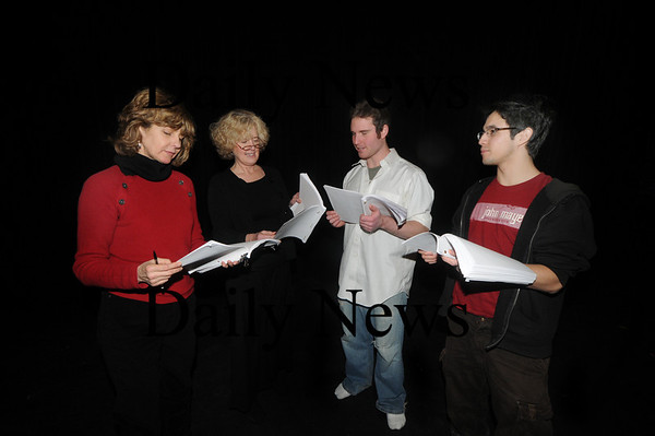 "Newburyport:  Sally Nutt , Pam Baltin-Sacks,  Gideon Bautista  and Ian Wallace in a Rehearsal for Steve Faria's full-length play, ""Quicksand"".part of the New Works Festival.photo by Jim Vaiknoras /Newburyport Daily News  January"