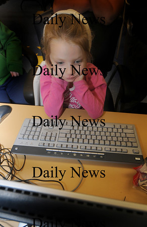Salisbury: Noel Murphy, 7, concentrates while using one of the computers at the Boys and Girls Club in Salisbury Tueday night. photo by Jim Vaiknoras/ Newburyport Daily News. Tuesday January 6, 2008