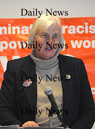 Newburyport: Karen Hudner speaks at the 16 annual Martin Luther King jr Breakfast at  Newburyport High Monday .photo by Jim Vaiknoras/Newburyport Daily News Monday January 19, 2009