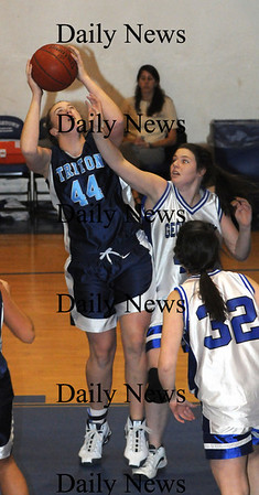 Georgetown: Triton's Paige Stokes grabs an offensive rebound during the Viking's game at Georgetown Tuesday night. photo by Jim Vaiknoras/ Newburyport Daily News. Tuesday January 6, 2008
