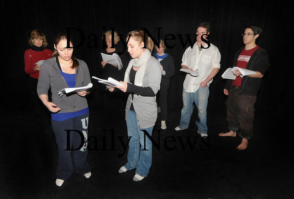 """Newburyport: Amanda Coffin , Rachel Coffin  back: Sally Nutt , Pam Baltin-Sacks, Michelle Chabot , Gidion Bautista  and Ian Wallace in a Rehearsal for Steve Faria's full-length play, """"Quicksand"""".part of the New Works Festival.photo by Jim Vaiknoras /Newburyport Daily News  January"""