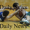 West Newbury: Georgetown's Josh Ingram fights for a loose ball with  Pentucket's Tylor Beaton during their game at Pentucket Tuesday night.photo by JIm Vaiknoras. Tuesday January 13, 2009