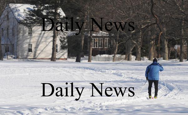 Newburyport: A skier braves the cold Sunday to glide along the white fields of Maudslay in Newburyport..photo by Jim Vaiknoras /Newburyport Daily News  January 25, 2009