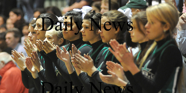 West Newbury: The Pentucket cheerleaders clap for their Sachems during their game against Georgetown at Pentucket Tuesday night.photo by JIm Vaiknoras. Tuesday January 13, 2009