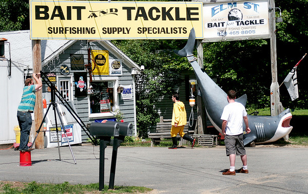"Salisbury: The cast and crew of the upcoming movie ""Hooked"" shoot a scene at Elm Street Bait and Tackle in Salisbury Wednesday afternoon. Production will continue for the next few days at location throughout the area. Photo by Ben Laing/Staff Photo"