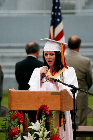 Amesbury: Megan Little performs the National Anthem during Friday night's graduation ceremony at Amesbury High School. Photo by Ben Laing/staff photo