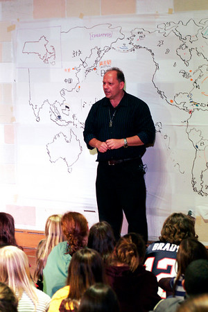 Newburyport: Neil Nichols speaks with the sixth graders at the Nock Middle School on Monday afternoon. Nichols plays a geography game show with the students, teaching them about other countries, while hand drawing a map of the world. Photo by Ben Laing/Staff Photo